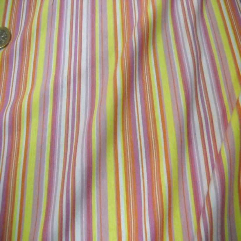 Jersey coton lycra imprime rayures ton jaune orange0