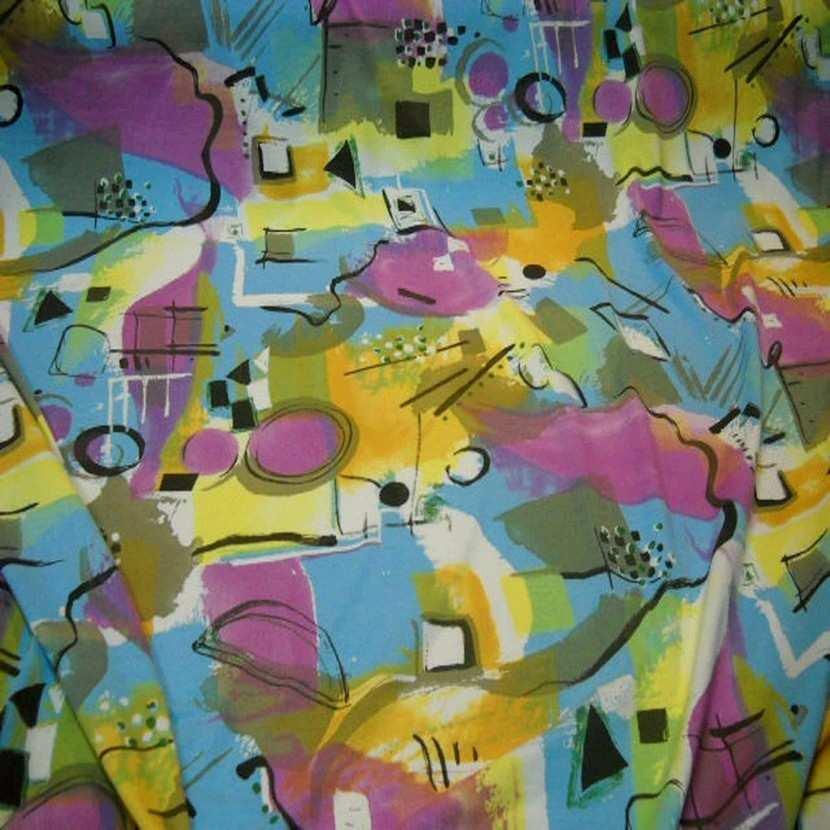 Jersey coton lycra imprime rose jaune bleu