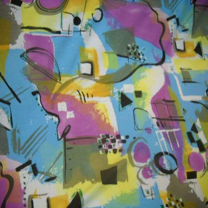 Jersey coton lycra imprime rose jaune bleu0