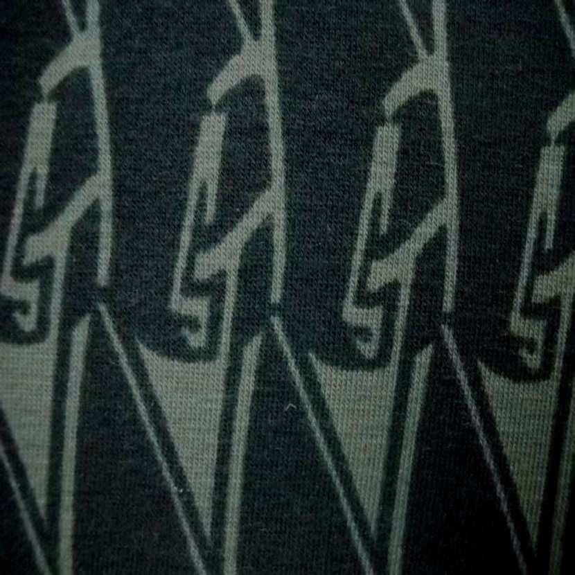 Jersey coton lycra imprime ton vert0