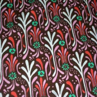 Jersey coton lycra marron imprime fleurs
