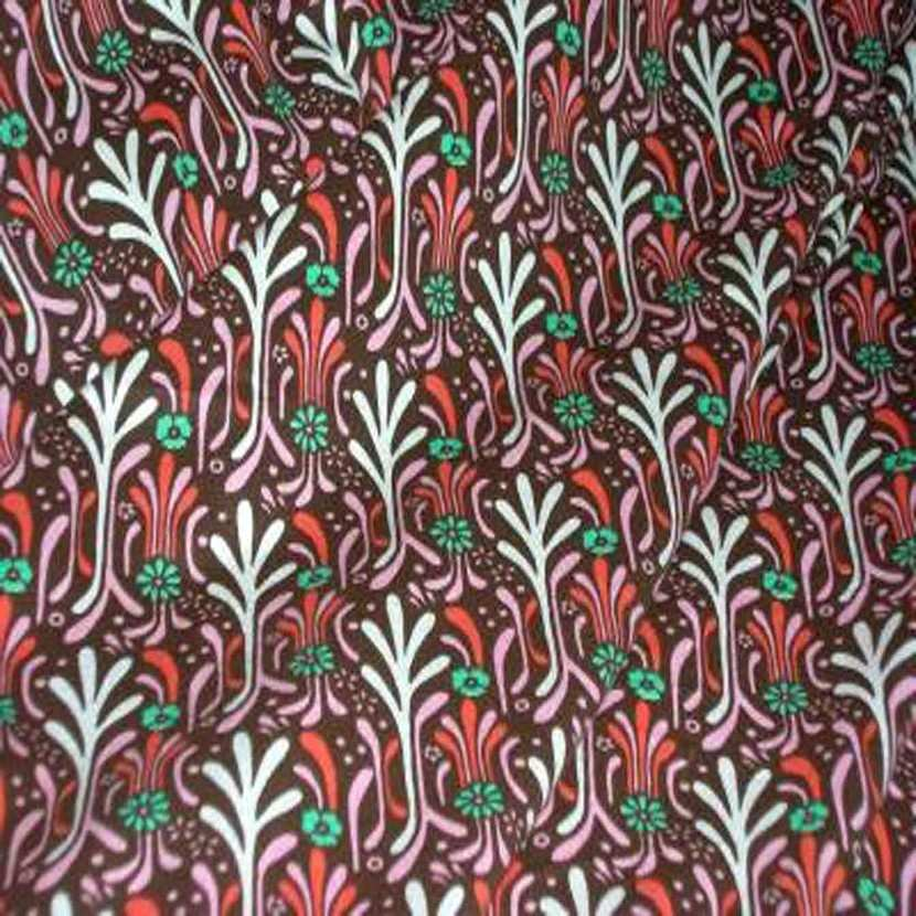 Jersey coton lycra marron imprime fleurs1