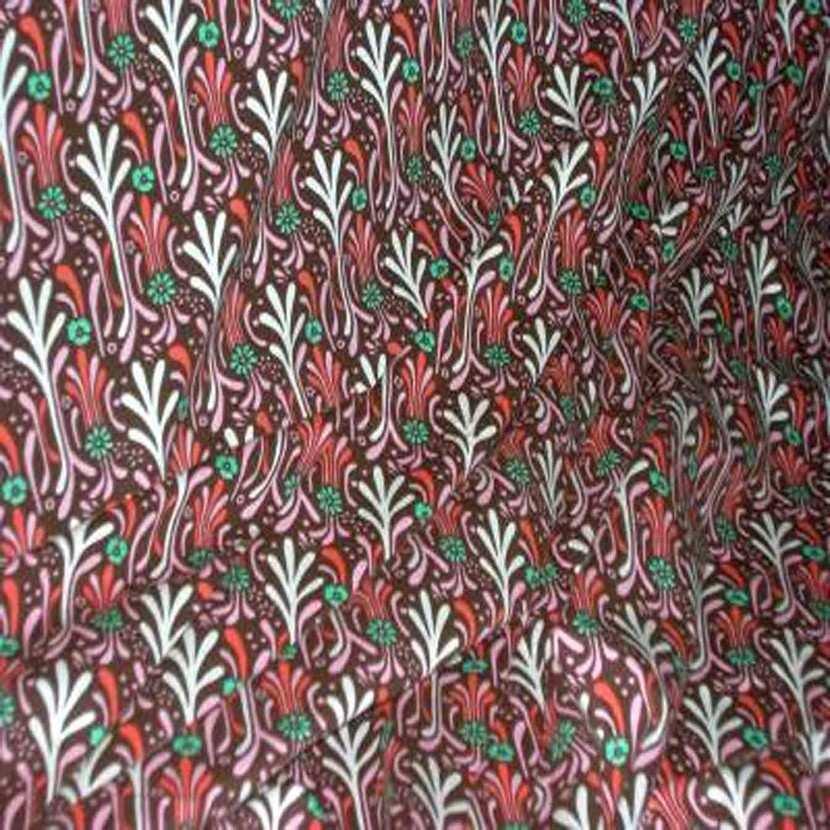 Jersey coton lycra marron imprime fleurs9