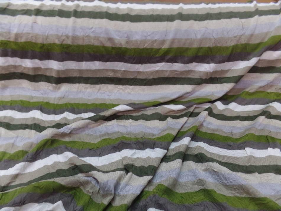 Jersey coton melange fin froisse permanent a rayures ecrue taupe kaki et gris