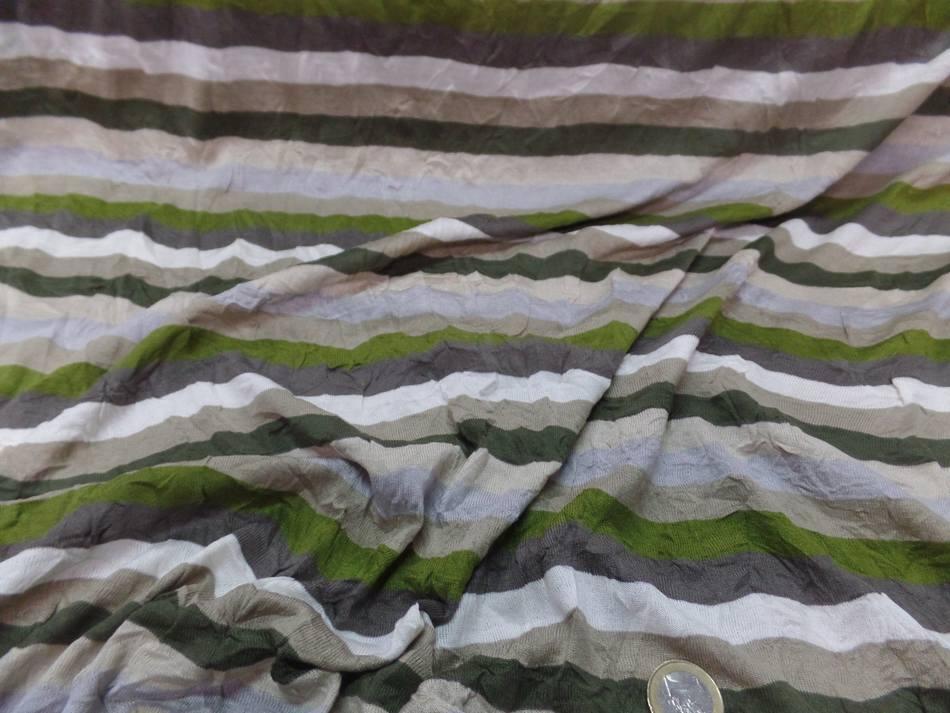Jersey coton melange fin froissé permanent a rayures écrue taupe kaki et gris