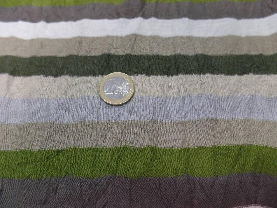 Jersey coton melange fin froisse permanent a rayures ecrue taupe kaki et gris7