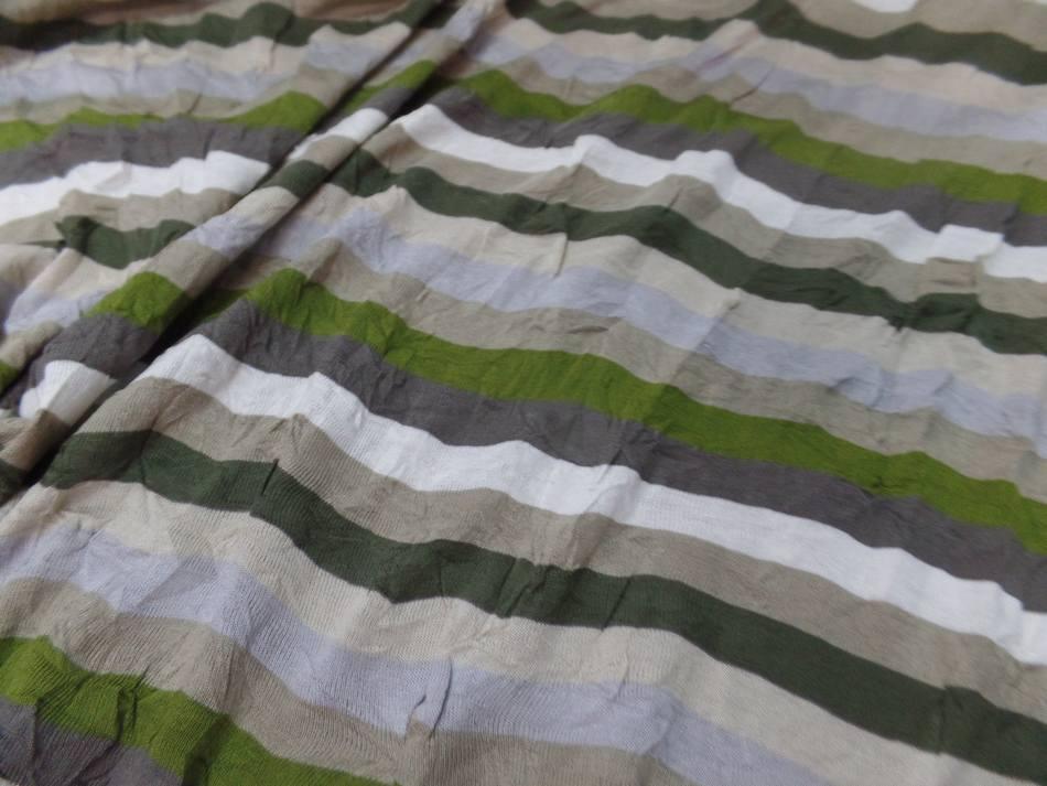 Jersey coton mélangé fin froissé permanent a rayures écrue ,taupe ,kaki et gris
