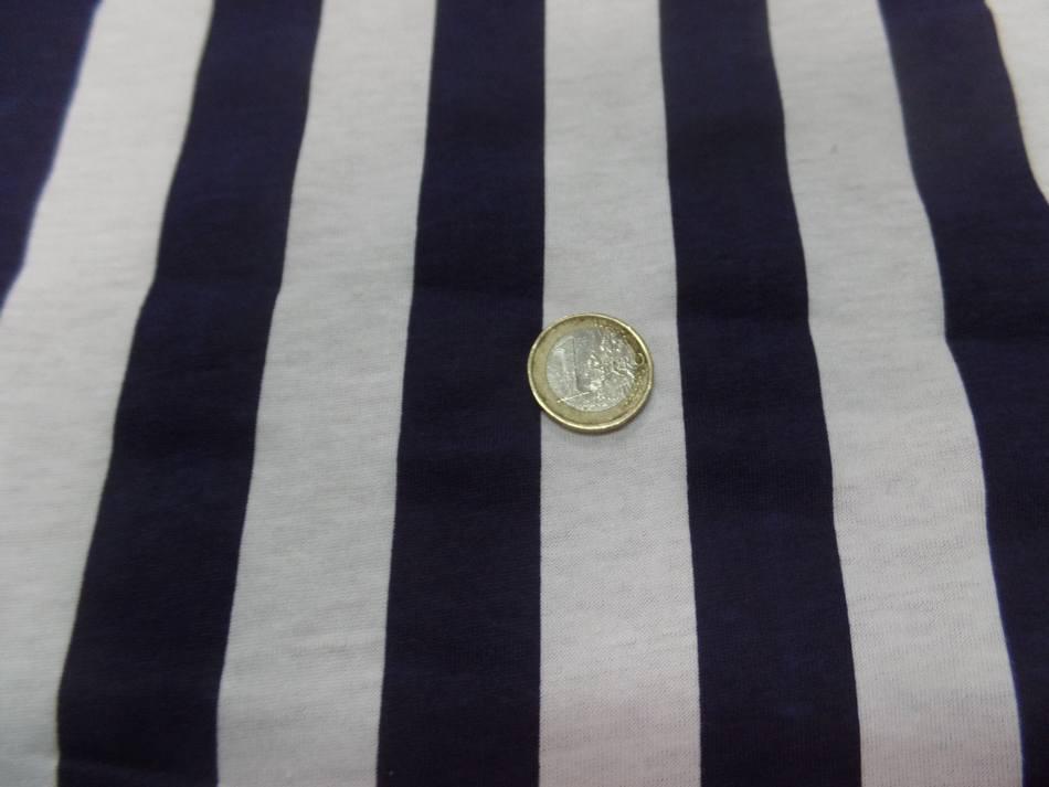 Jersey coton raye bleu marine et blanc pas cher