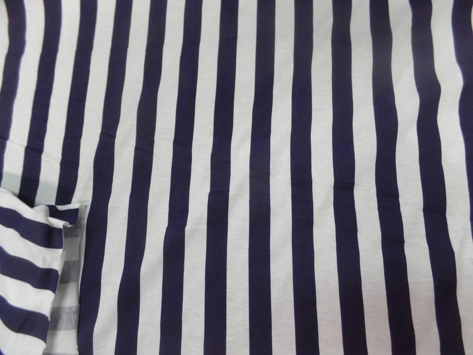 tissu jersey coton rayé bleu marine et blanc