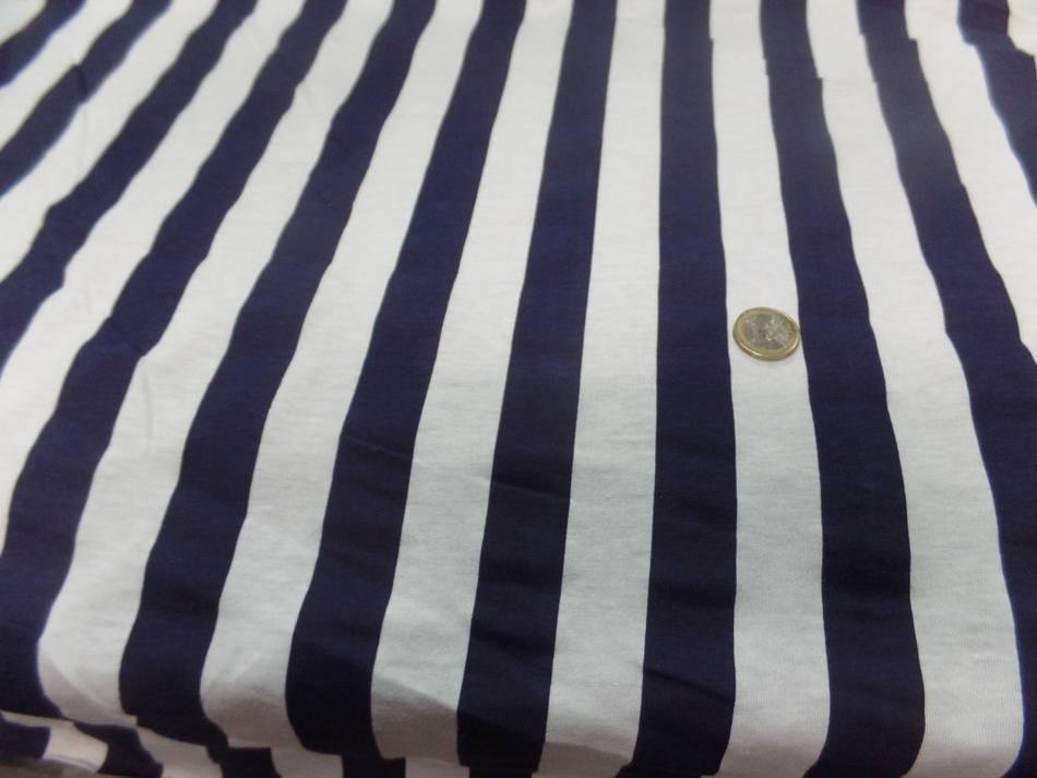 vente de tissu jersey coton rayé bleu marine et blanc
