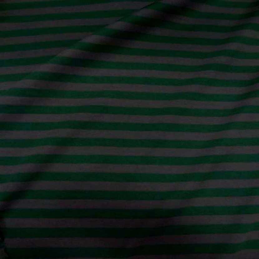 Jersey coton raye vert et gris