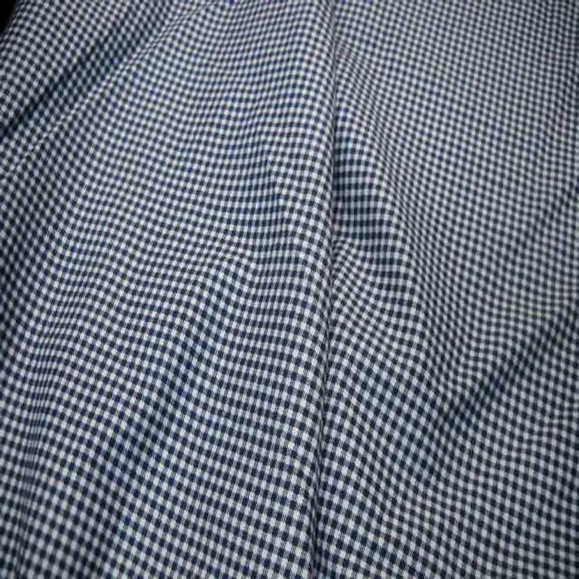 Jersey coton ton bleu marine blanc imprime vichy