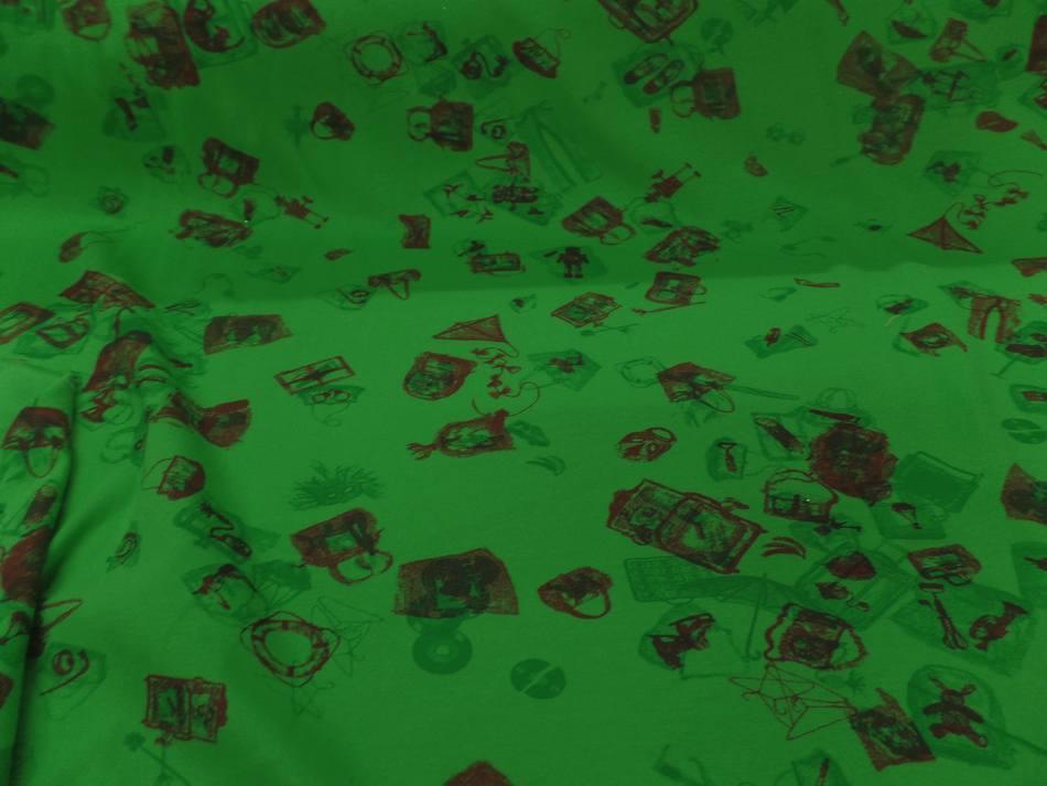 tissu jersey coton vert imprimé motifs bordeaux