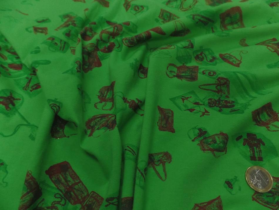 jersey coton vert imprimé motifs bordeaux