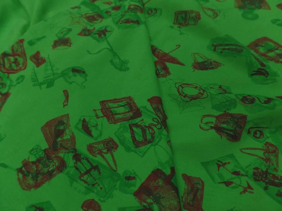 vente de tissu jersey coton vert imprimé motifs bordeaux