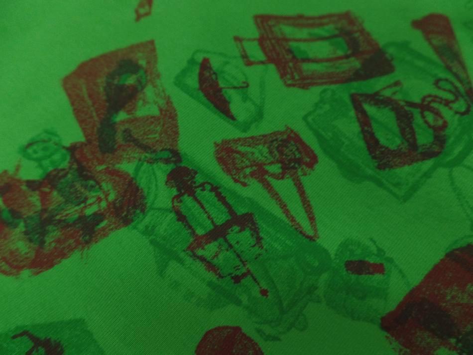 tissu jersey coton vert imprimé motifs bordeaux en ligne