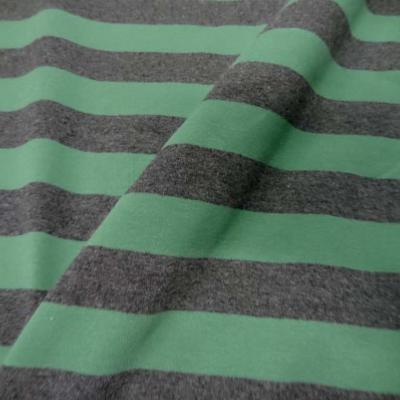 Jersey lycra en coton gris raye vert 1