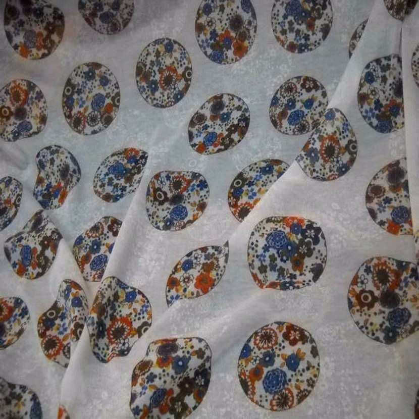 vente de tissu jersey mélangé blanc imprimé