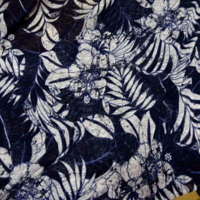 Jersey melange ton bleu bleu imprime fleurs