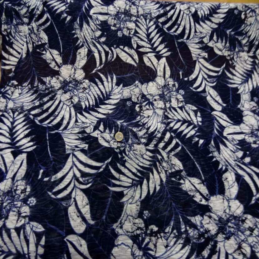 Jersey melange ton bleu bleu imprime fleurs0