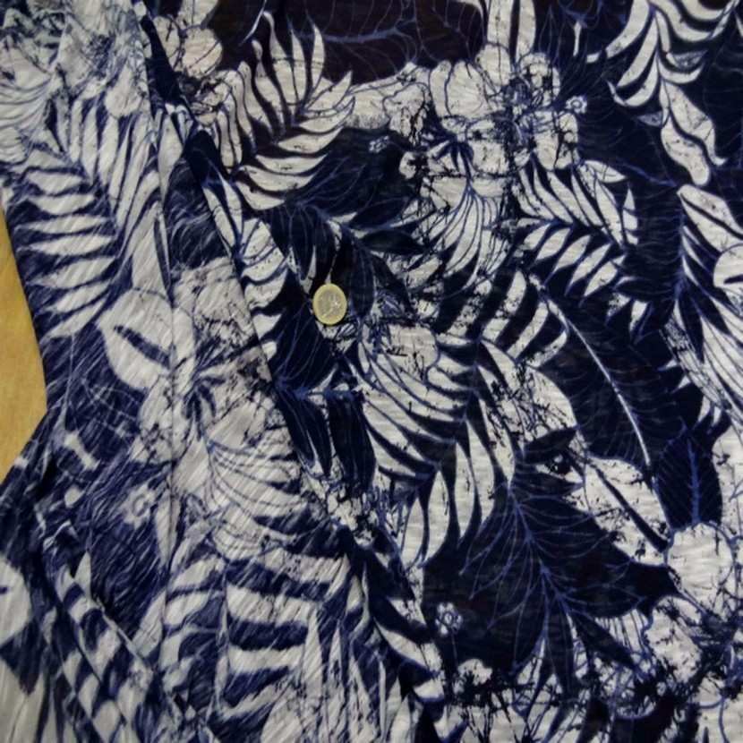 Jersey melange ton bleu bleu imprime fleurs1