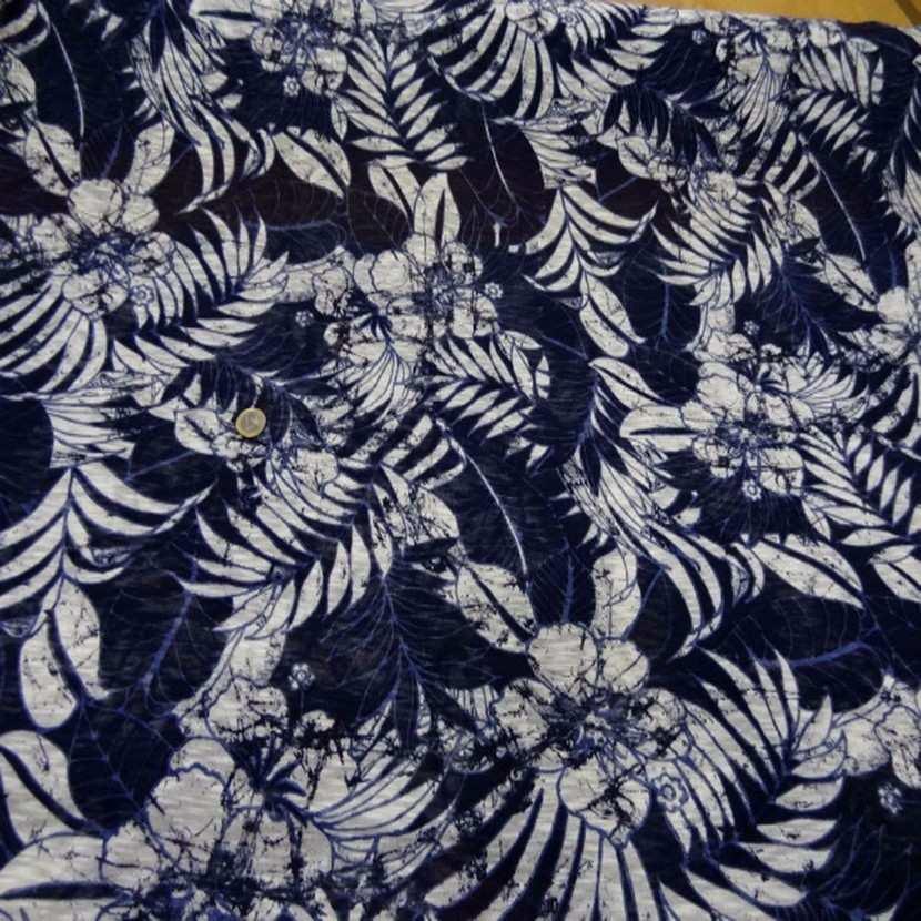 Jersey melange ton bleu bleu imprime fleurs3