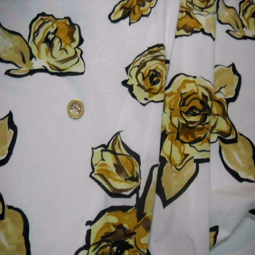Jersey polyester blanc imprime rose ton beige jaune8