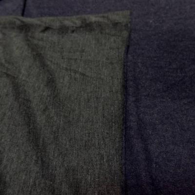 Jersey viscose lycra double face gris et bleu chine