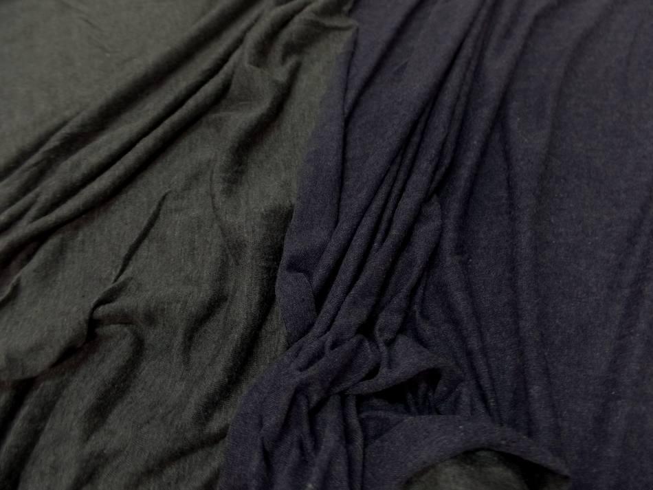 vente de tissu jersey viscose lycra double face gris et bleu chiné