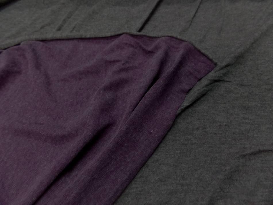 Jersey viscose lycra double face gris et violet chine