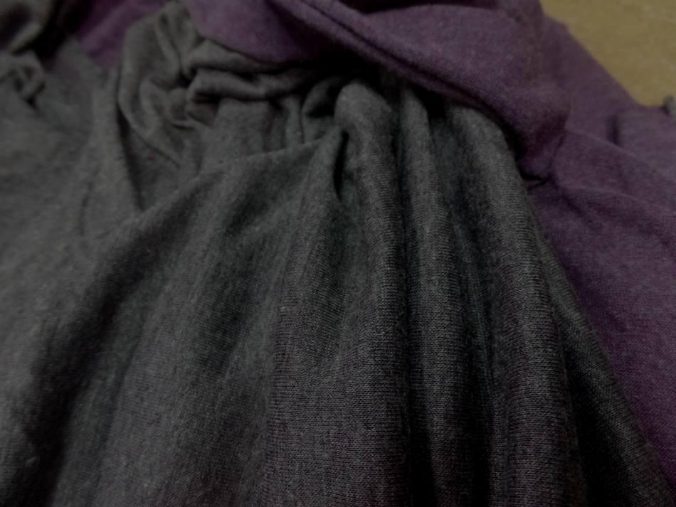 Tissu jersey viscose lycra double face gris et violet chiné pas cher