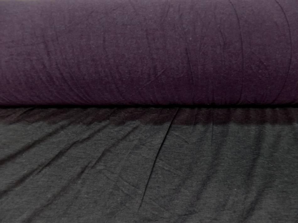 achat Tissu jersey viscose lycra double face gris et violet chiné
