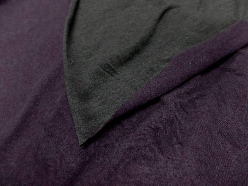 Tissu jersey viscose lycra double face gris et violet chiné