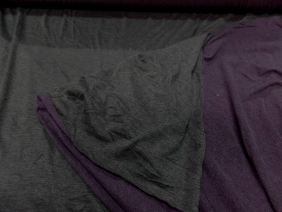 Tissu jersey viscose lycra double face gris et violet chiné en ligne