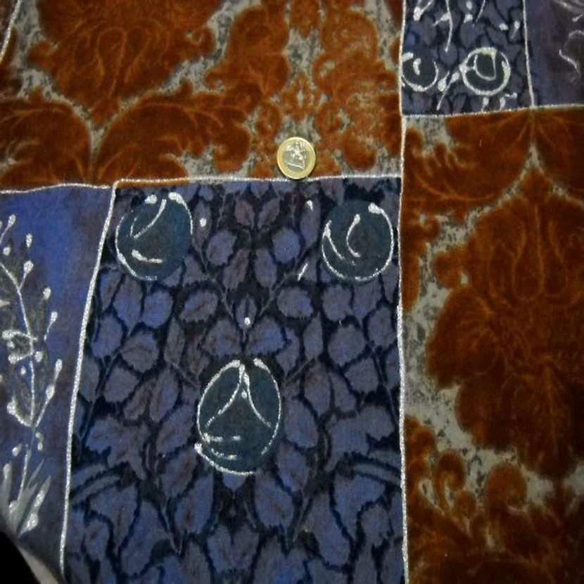 Lainage leger facon patchwork caramel et bleu0