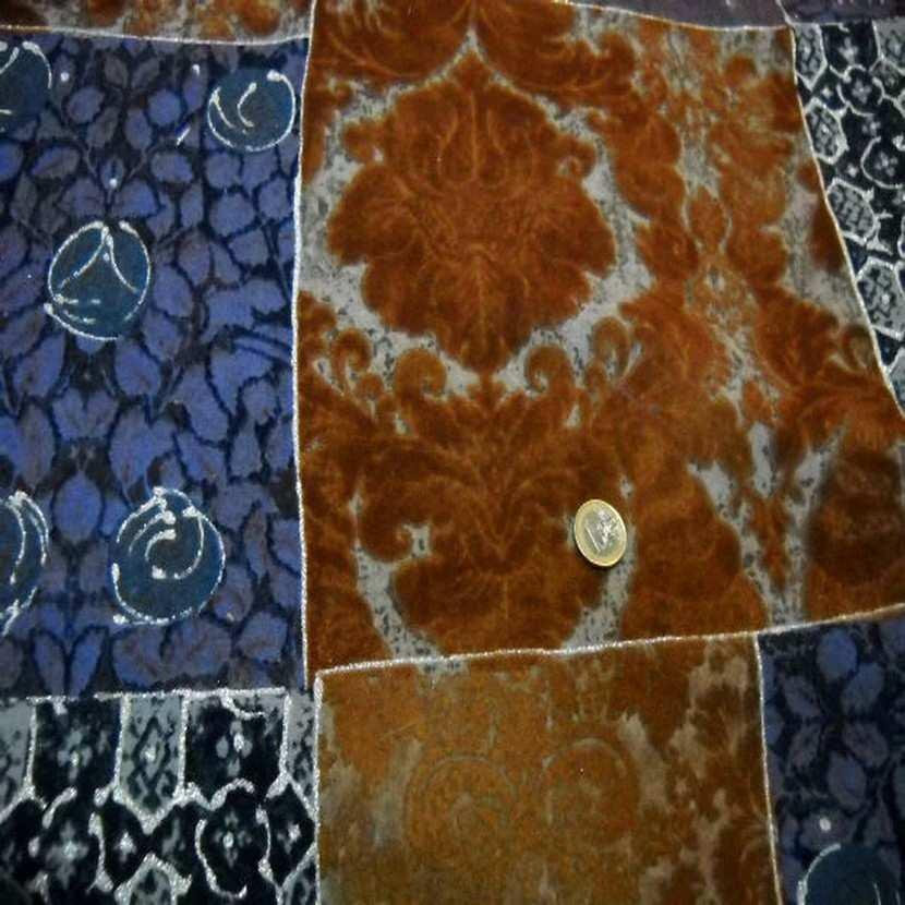 Lainage leger facon patchwork caramel et bleu9