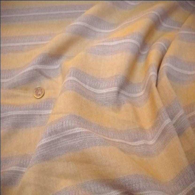 Lin a rayures beige et jaune safran