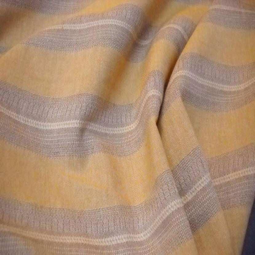 Lin a rayures beige et jaune safran1
