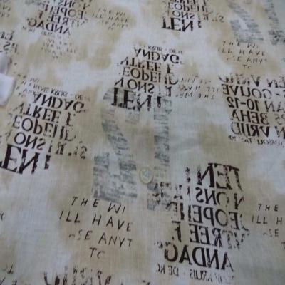 Lin blanc casse beige imprime ecriture marron gris