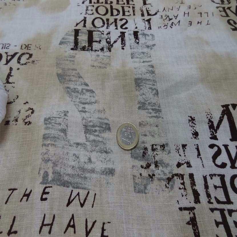 Lin blanc casse beige imprime ecriture marron gris8