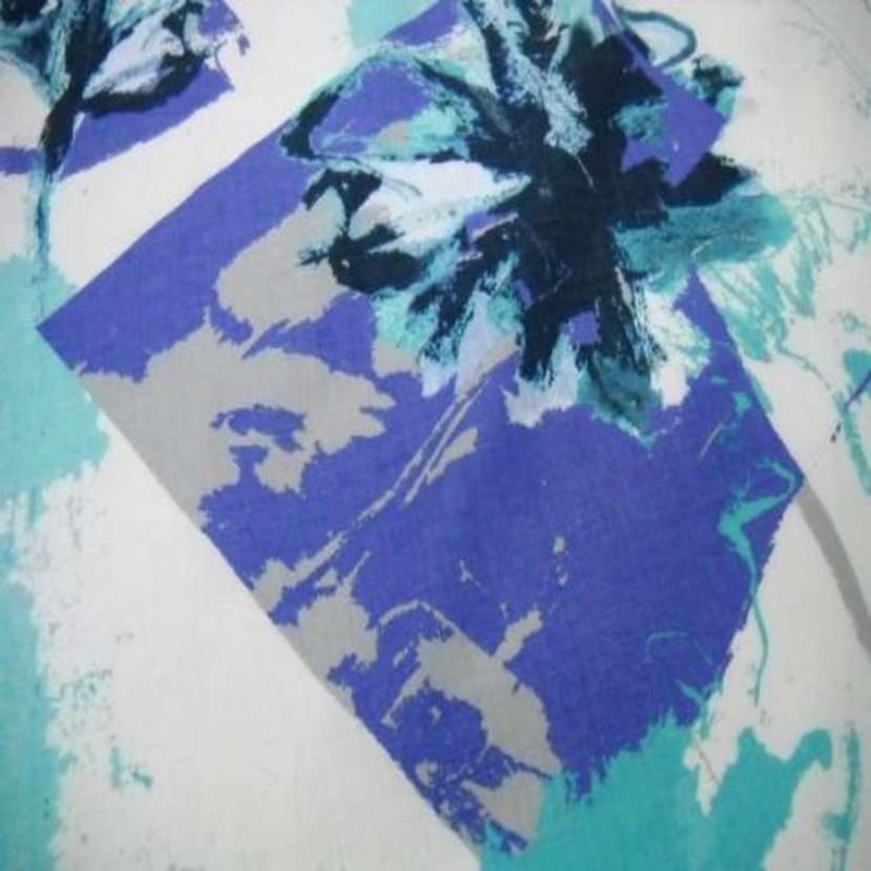 tissu lin blanc imprime ton bleu