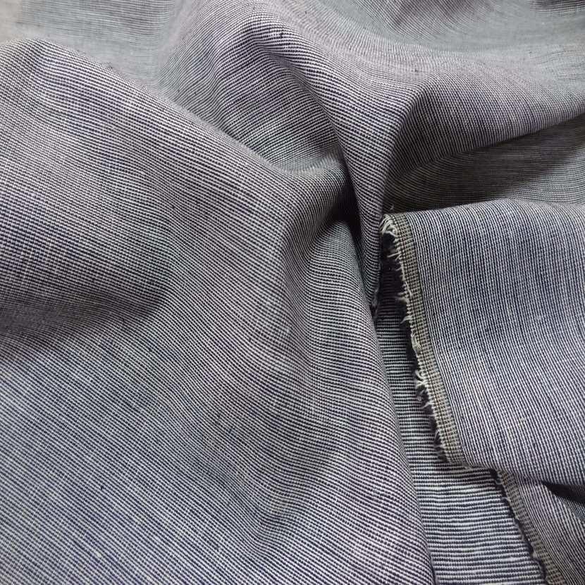 Lin chambray noir blanc