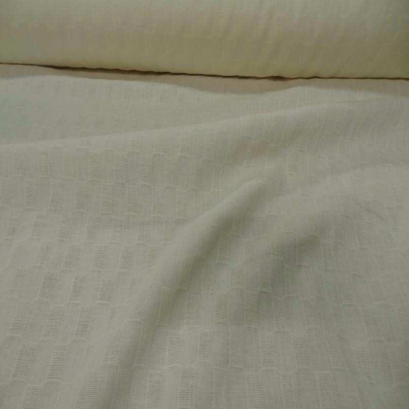 Lin coton faconne rectangle brode couleur beurre