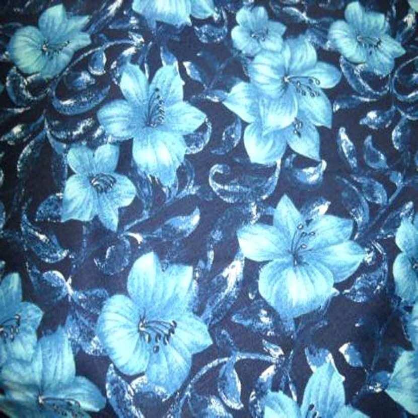 Lin coton imprime fleurs ton bleu