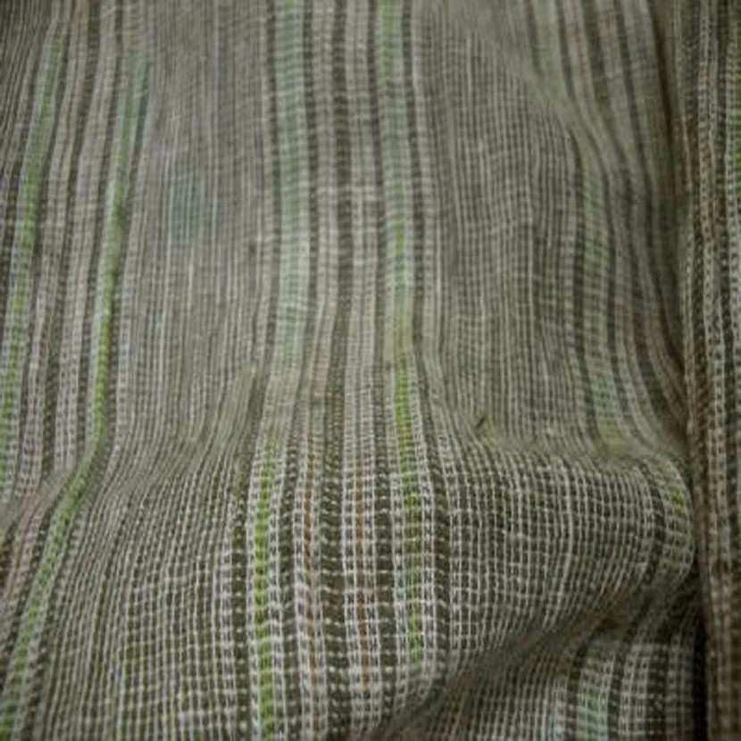 Lin coton pas epais vert raye