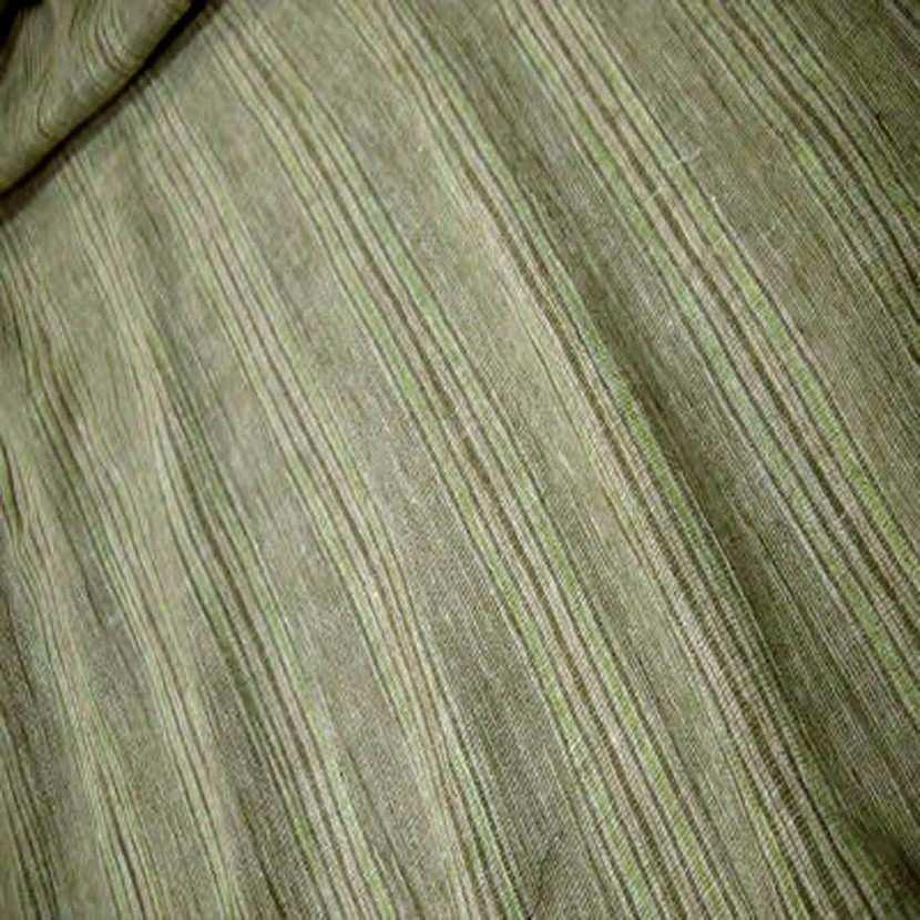 Lin coton pas epais vert raye0