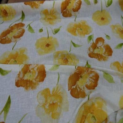 Lin fin blanc imprime fleurs safran jaune