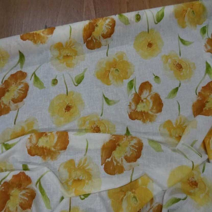Lin fin blanc imprime fleurs safran jaune0