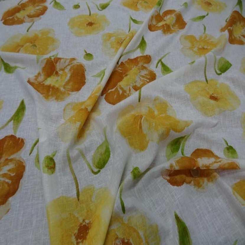Lin fin blanc imprime fleurs safran jaune6