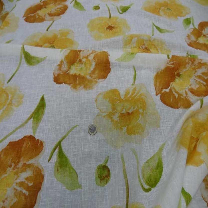 Lin fin blanc imprime fleurs safran jaune9